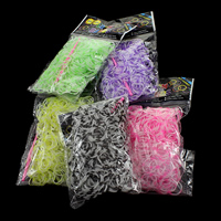Loom Bands, Rubber, platinum color plated, attachted crochet hook & with plastic S clip & transparent & two tone, more colors for choice, nickel, lead & cadmium free, 1.3mm, 12x6x2mm, 83x6x4mm, 600PCs/Bag, Sold By Bag