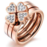 Stainless Steel Ring Set, Four Leaf Clover, rose gold color plated, different size for choice & Customized & with cubic zirconia, 7.6mm, 20Sets/Bag, 3PCs/Set, Sold By Bag