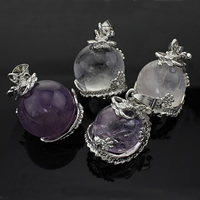 Ice Quartz Agate Pendants, with Brass, platinum color plated, mixed colors, nickel, lead & cadmium free, 20-25x30-32mm, Hole:Approx 5x7mm, Sold By PC