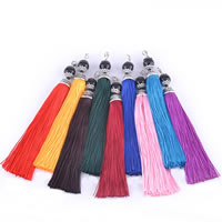 Decorative Tassel, Nylon, with Glass, silver color plated, mixed colors, 15mm, Length:Approx 6 Inch, Sold By Strand