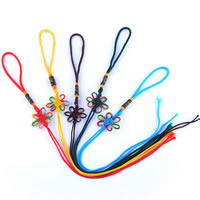 Hanging Decoration Lanyard Strap, Nylon, Chinese Knot, mixed colors, 28mm, Length:Approx 13 Inch, Sold By Strand