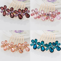 Decorative Hair Combs, Zinc Alloy, with Crystal, Flower, gold color plated, faceted & with rhinestone, mixed colors, nickel, lead & cadmium free, 92x92mm, 30PCs/Bag, Sold By Bag
