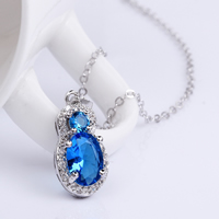 comeon® Jewelry Necklace, Brass, with 2lnch extender chain, Number 8, platinum plated, oval chain & with cubic zirconia, blue, 10x25mm, Length:Approx 17 Inch, Sold By Strand