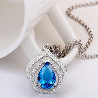 comeon® Jewelry Necklace, Brass, with 2lnch extender chain, Teardrop, platinum plated, rolo chain & with cubic zirconia, blue, 19x30mm, Length:Approx 17 Inch, Sold By Strand