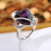 comeon® Finger Ring, Brass, Teardrop, platinum plated, different size for choice & with cubic zirconia, purple, 21x22mm, Sold By PC
