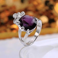 comeon® Finger Ring, Brass, Teardrop, platinum plated, different size for choice & with cubic zirconia, purple, 21x20mm, Sold By PC