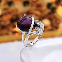 comeon® Finger Ring, Brass, Teardrop, platinum plated, different size for choice & with cubic zirconia, purple, 20x20mm, Sold By PC