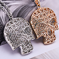Zinc Alloy Sweater Chain Necklace, with 3.3Inch extender chain, Skull, plated, oval chain & with rhinestone, more colors for choice, nickel, lead & cadmium free, 54x38mm, Length:Approx 22.8 Inch, Sold By Strand