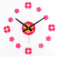 DIY Wall Clock, Acrylic, with Iron, plated, pink, nickel, lead & cadmium free, 300-600mm, Sold By PC