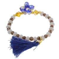 Crystal Bracelets, with Millefiori Glass & Smoky Quartz & Brass, faceted, 8mm, 5x6mm, 4x4mm, 7x7mm, Length:Approx 7.5 Inch, Sold By Strand
