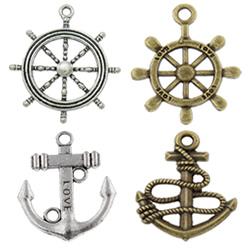 Zinc Alloy Ship Wheel & Anchor Pendants