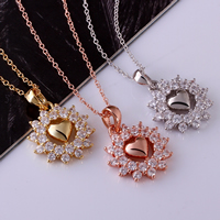 comeon® Jewelry Necklace, Brass, with 2lnch extender chain, Flower, plated, oval chain & with cubic zirconia, more colors for choice, 30x22mm, Length:Approx 18 Inch, Sold By Strand
