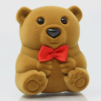 Velveteen Single Ring Box, with Cardboard & Satin Ribbon & Acrylic, Bear, coffee color, 56x46x38mm, 50PCs/Bag, Sold By Bag