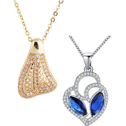 Cubic Zircon Micro Pave Brass Necklace