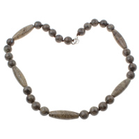 Labradorite Necklace, brass lobster clasp, 10x10mm, 10x31mm, Length:Approx 18 Inch, Sold By Strand