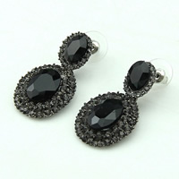Resin Zinc Alloy Earring, with rubber earnut & Resin, Flat Oval, plumbum black color plated, faceted & with rhinestone, black, 20x25mm, Sold By Pair