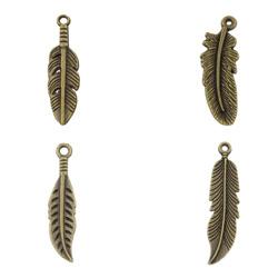 Zinc Alloy Feather Pendants