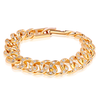 Gets® Jewelry Bracelet, Brass, 24K gold plated, with cubic zirconia, nickel, lead & cadmium free, 12mm, Length:Approx 7 Inch, Sold By Strand
