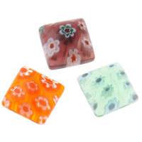 Millefiori Glass Cabochon, Square, handmade, flat back, mixed colors, 10x10mm, 200PCs/Bag, Sold By Bag