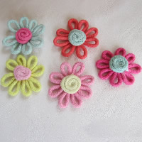 Wool Hair Accessories DIY Findings, Flower, mixed colors, 40x40mm, Sold By PC