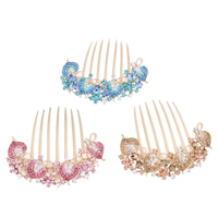 Decorative Hair Combs, Zinc Alloy, with Glass, Leaf, rose gold color plated, enamel & faceted & with rhinestone, more colors for choice, nickel, lead & cadmium free, 92x89x20mm, Sold By PC