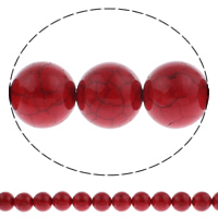 Synthetic Turquoise Beads, Round, different size for choice, red, Hole:Approx 1mm, Length:Approx 14.5 Inch, Sold By Strand