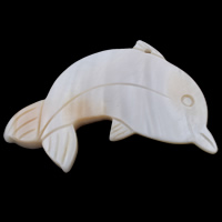 Natural Freshwater Shell Pendants, Dolphin, white, 67x47x6mm, Hole:Approx 1.5mm, Sold By PC