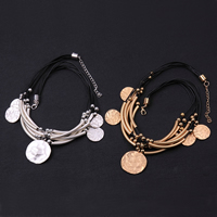 comeon® Jewelry Necklace, Brass, with Waxed Nylon Cord, with 2.7lnch extender chain, plated, multi-strand & matte, more colors for choice, 50x4mm, Length:Approx 17 Inch, Sold By Strand