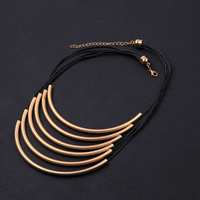 comeon® Jewelry Necklace, Brass, with Waxed Nylon Cord, with 2.7lnch extender chain, real gold plated, 6-strand & matte, 110x5mm, Length:Approx 17 Inch, Sold By Strand