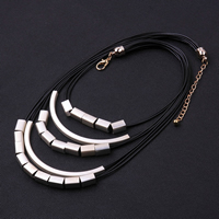 comeon® Jewelry Necklace, Brass, with Waxed Nylon Cord, with 3lnch extender chain, plated, multi-strand & matte, 95x5mm, Length:Approx 18 Inch, Sold By Strand