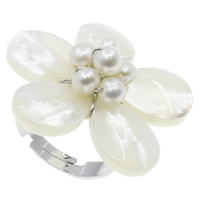 White Shell Cuff Finger Ring, with pearl & Brass, Flower, natural, adjustable, white, 31x11mm, US Ring Size:7.5, 36PCs/Box, Sold By Box
