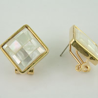 White Shell Earrings, Zinc Alloy, with White Shell, brass earring post and Omega clip, Rhombus, gold color plated, mosaic, nickel, lead & cadmium free, 22x23mm, Sold By Pair