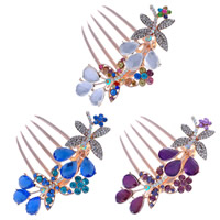 Decorative Hair Combs, Zinc Alloy, with Crystal, Butterfly, rose gold color plated, faceted & with rhinestone, mixed colors, nickel, lead & cadmium free, 90x80mm, 30PCs/Bag, Sold By Bag
