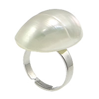 Shell Finger Ring, Brass, with White Shell, Flat Oval, platinum color plated, adjustable, nickel, lead & cadmium free, 18x31x2mm, Size:6.5, Sold By PC