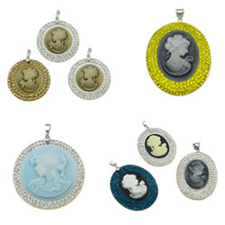 Rhinestone Resin Pendants
