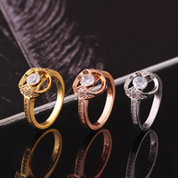 comeon® Finger Ring, Brass, Flat Round, plated, different size for choice & micro pave cubic zirconia, more colors for choice, 11x12mm, Sold By PC