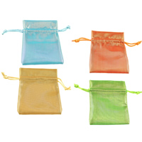 Polyamide Drawstring Pouches, with Nylon Cord, Rectangle, more colors for choice, 80x100x3mm, Sold By PC