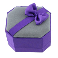 Plastic Single Ring Box, with Satin Ribbon & Velveteen, purple, 60x52x43mm, Sold By PC