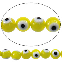 Evil Eye Lampwork Beads, Round, evil eye pattern, yellow, 10mm, Hole:Approx 1mm, Length:Approx 15.5 Inch, Approx 40PCs/Strand, Sold By Strand