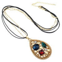 Zinc Alloy Sweater Chain Necklace, with iron chain & PU & Glass, with 3.5lnch extender chain, Teardrop, gold color plated, lantern chain & 3-strand & faceted & with rhinestone & hollow, nickel, lead & cadmium free, 43x68x14mm, 2mm, 1mm, Length:Approx 30 Inch, Sold By Strand