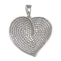 Cubic Zirconia Micro Pave Sterling Silver Pendant, 925 Sterling Silver, Heart, plated, micro pave cubic zirconia, more colors for choice, 23.5x23.5x2mm, Hole:Approx 3x5mm, Sold By PC