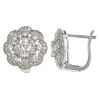 Cubic Zirconia Micro Pave Sterling Silver Earring, 925 Sterling Silver, Flower, plated, micro pave cubic zirconia, more colors for choice, 13x13x14mm, Sold By Pair
