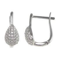 Cubic Zirconia Micro Pave Sterling Silver Earring, 925 Sterling Silver, Teardrop, plated, micro pave cubic zirconia, more colors for choice, 6.5x15x13mm, Sold By Pair
