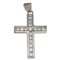Cubic Zirconia Micro Pave Sterling Silver Pendant, 925 Sterling Silver, Cross, plated, micro pave cubic zirconia, more colors for choice, 17x27x2.5mm, Hole:Approx 3x5mm, Sold By PC
