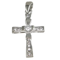 Cubic Zirconia Micro Pave Sterling Silver Pendant, 925 Sterling Silver, Cross, plated, micro pave cubic zirconia, more colors for choice, 14x22x3.5mm, Hole:Approx 2x3.5mm, Sold By PC