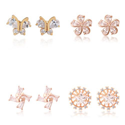 Cubic Zircon Brass Earring