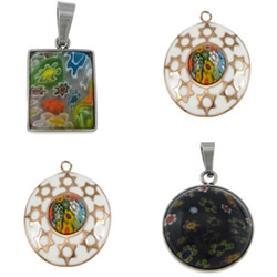 Millefiori Glass Stainless Steel Pendant