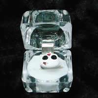 Organic Glass Single Ring Box, Square, transparent, clear, 40x40x37mm, 600PCs/Lot, Sold By Lot