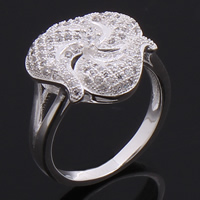 Cubic Zirconia Micro Pave Brass Finger Ring, Flower, plated, micro pave 103 pcs cubic zirconia, more colors for choice, nickel, lead & cadmium free, 16mm, US Ring Size:6.5, Sold By PC