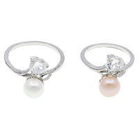 Cultured Freshwater Pearl Finger Ring, Brass, with pearl, Flat Round, platinum color plated, with cubic zirconia, mixed colors, nickel, lead & cadmium free, 22x28x14mm, 210x140x33mm, US Ring Size:7.5, 36PCs/Box, Sold By Box